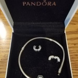 Authentic Pandora 7.25 inch bracelet with stoppers